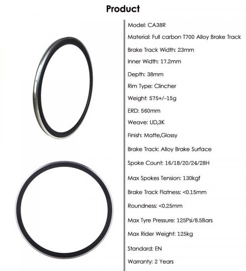 Road Bike Carbon Clincher rim